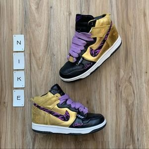 NIKE SBTG x LAZY Dunk High Gold Sneakers Purple 8